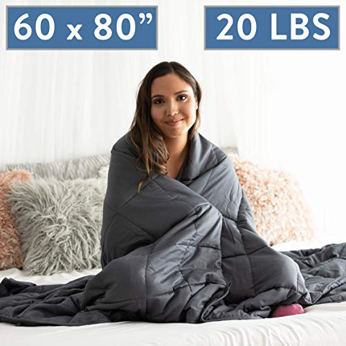 Glass Queen Size Bed - Dapper Display Weighted Blanket 20 LBS Queen Size Anxiety Relief Thick Heavy Weight Calming Blankets Lap Pad - Full Size Big Cotton Bed with Glass Beads - Large Grey 60