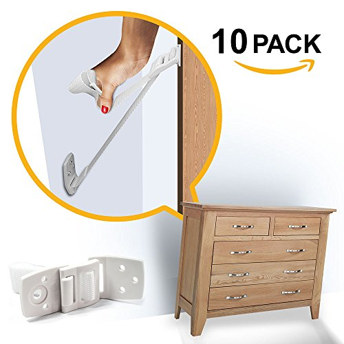 Ella's Homes Furniture and TV Anti Tip Straps | Adjustable Earthquake Resistant Straps | Best Wall Anchor | Protection For Children | Baby Proof & Extra Strong ABS Kit (Pop Furniture)