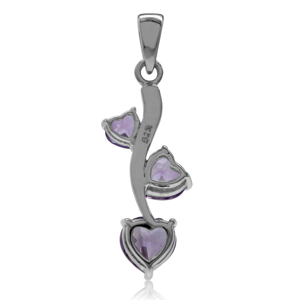 Silvershake Graduated Classic 3 Stones 925 Sterling Silver Gemstone Heart Pendant