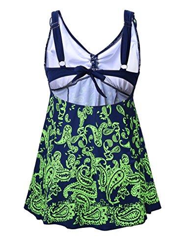 NONWE Women's Plus-Size Swimsuit Retro Print Adjustable Straps Two Piece Pin up Beachwear Swimwear 612108240-6XL (US 20-22W)
