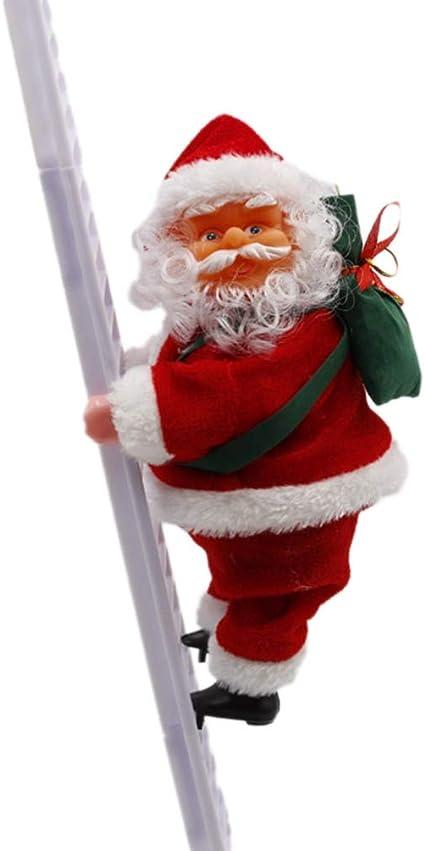 Amosfun Santa Claus Escalera de Escalada eléctrica Santa Claus muñeca Juguete Adornos para árboles de Navidad Fiesta de Navidad favores para Fiesta ...