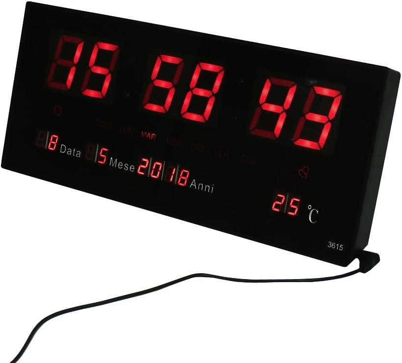 CLOCK STORE Cucuba® Orologio Digitale da Parete A LED Rossi con DATARIO Temperatura E Funzione Sveglia Funzionamento USB per Bar RISTORANTI Sale