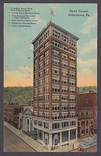 Bank Corner Johnstown PA postcard 1913 Franklin Street Wing First National + (Corner National Bank)
