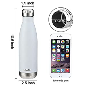 Vanpo Double Wall Vacuum Insulated Stainless Steel Water Bottle, 17 oz - White