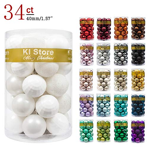 KI Store 34ct Christmas Ball Ornaments Shatterproof Christmas Decorations Tree Balls Small for Holiday Wedding Party Decoration, Tree Ornaments Hooks Included 1.57