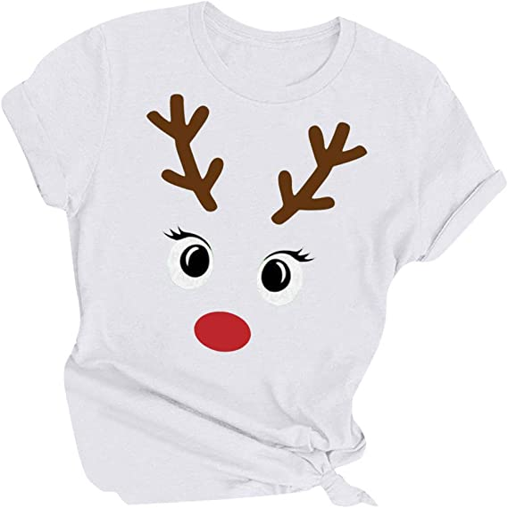 Femme Noël T Shirt Femme Bébé Renne Chapeau fantaisie en coton à manches de Noël Top