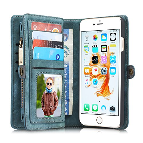 Leather wallet phone cases iPhone 6/iPhone 6S/iPhone 6 Plus/iPhone 6S Plus/iPhone 7/iPhone 7 Plus case/Samsung S7 Edge/S7, Blue