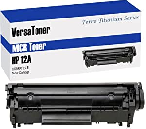 VersaToner - 12A Q2612A MICR Toner Cartridge for Check Printing - Compatible with LaserJet 1010, 1012, 1015, 1018, 1020, 1022, 3015, 3020, 3030, 3050, 3052, 3055, M1005, M1319f