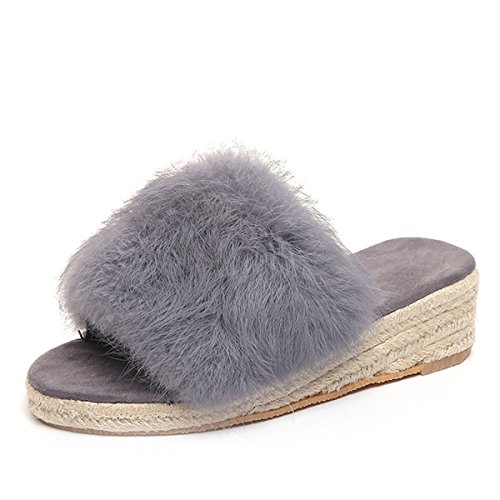 Caro Tempo Zeppe In Ecopelle Scamosciate Morbide Donne Espadrillas Slip On Slipper Shoes Grigie
