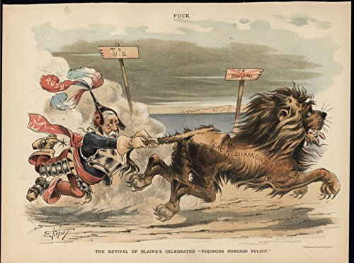 - Blaine Foreign Policy Ragged British Lion 1889 antique color lithograph print