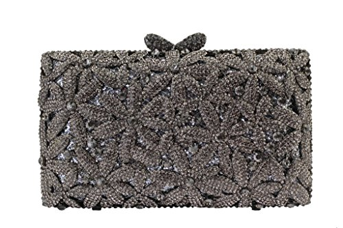 Yilongsheng femmes Glitter carrée embrayages Sacs avec Shiny Seven-flap Fleur cristaux (Gris)