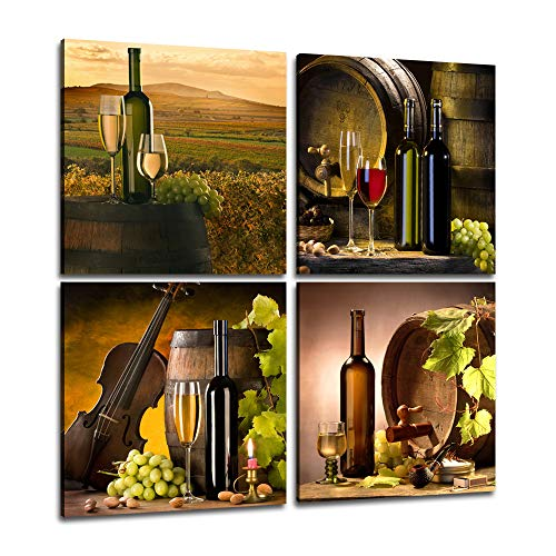 Yatsen Bridge 4 Separate Pieces Vintage Red Grape Wine in Bottle Cups Wall Art Pictures Paintings Kitchen Giclee Canvas Prints Stretched Framed Wall Art Home Decoration Dining Room(12''Wx12''Hx4Pcs)