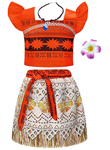 AmzBarley Moana Costume for Girls Dress up Toddler Baby Cosplay Outfit Little Kids Skirt Sets (Orange (with Accessories), 3T (2-3Years)) -