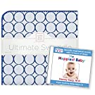 SwaddleDesigns Ultimate Swaddle Blanket Plus The Happiest Baby CD Bundle, Jewel Tone Mod Circles, True Blue