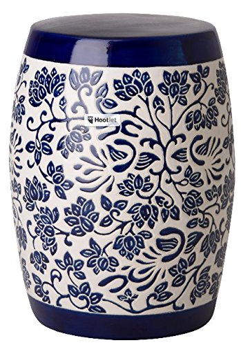 Chinese Ceramic Porcelain Garden Stool - Asian Traditional Chinese Amarante Garden Stool/Table Blue and White Ceramic Porcelain Furniture