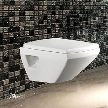 Wand Hänge Tiefspül WC Eckig Toilette Deckel Keramik Soft-Close Sitz ...