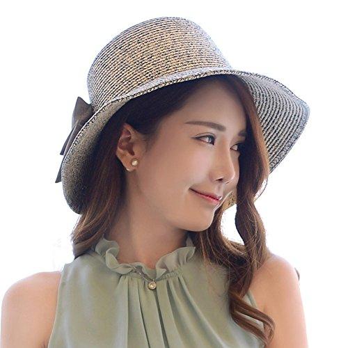 Dosoni Womens Floppy Summer Sun Hat Beach Cap Wide Brim Straw Hats (Blue)
