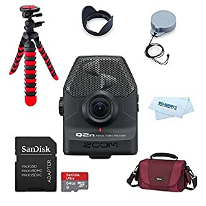 Zoom Q2n Zoom Handy Video Recorder + Zoom LHQ-2n Lens Hood and Cover Accessory Pack for Zoom Q2n + 64GB MicroSD Card + Lowepro Gadget Bag Q2 HD Action Camera