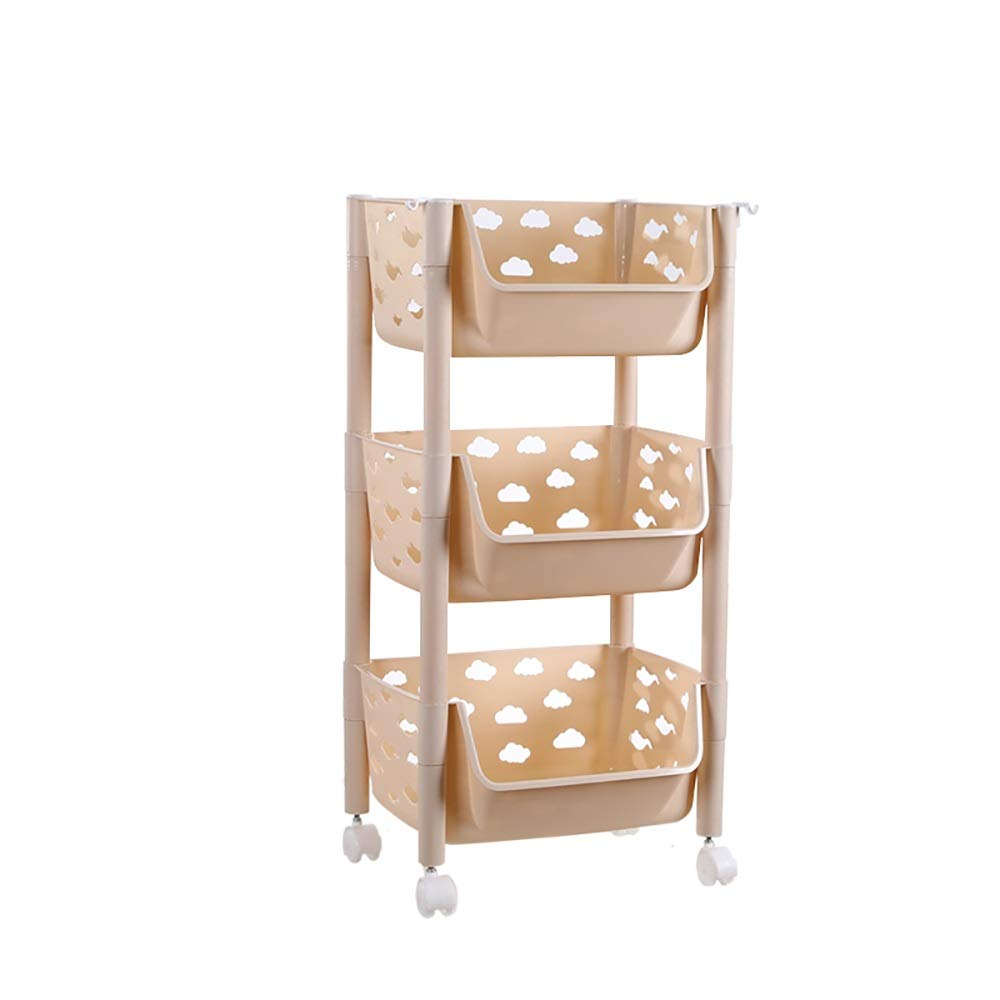 Kitchen Storage Trolley- cart with Storage BasketsWheels Fruit Vegetable Rack - PP Plastic - Khaki