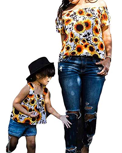 Mom Baby Matching Outfits,Mom and Me Women Baby Little Girl Checked Tops T-Shirt Off Shoulder Summer Dress Family Outfits (Sunflower (Daughter), 6-7 T)