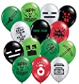 """Gypsy Jade's 24 Pixelated Party Balloons - Large 12"""" Pixel Video Game Styled Latex Balloons"""