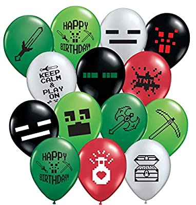 "Gypsy Jade's 24 Pixelated Party Balloons - Large 12"" Pixel Video Game Styled Latex Balloons"