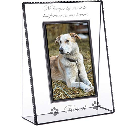 J Devlin Pic 319-46V EP534 Personalized Memorial Pet Picture Frame Engraved Glass Tabletop 4 x 6 Photo Frame Dog Cat ()