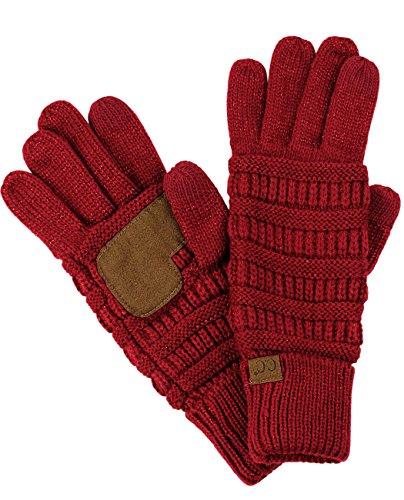 C.C Unisex Cable Knit Winter Warm Anti-Slip Touchscreen Texting Gloves, Burgundy Metallic