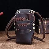 Leather Retro Large Professional Barber Salon Scissors Pouch Holster Holder Hairdresser Tool Bag with Belt,Can Accommodate 6 Scissors,color4