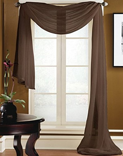 Gorgeous Home 1 PC SOLID BROWN SCARF VALANCE SOFT SHEER VOILE WINDOW PANEL CURTAIN 216