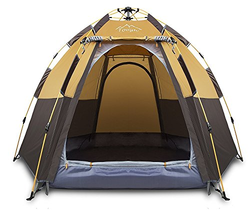 Toogh 3-4 Person Camping Tent Backpacking Tents Hexagon Waterproof Dome Automatic Pop-Up Outdoor Sports Tent Camping Sun Shelters (Best 4 Person Tent For The Money)