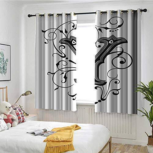MaryMunger Letter Y Grommet Window Curtain Calligraphy Inspired Medieval Capital Letter Alphabet Symbol European Design Embossed Thermal Weaved Blackout W 72