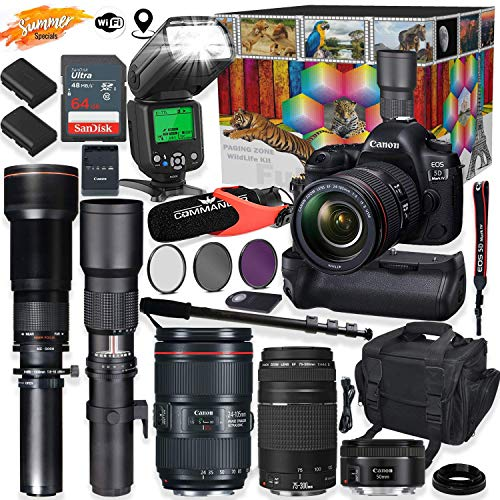 Canon EOS 5D Mark IV DSLR Camera 5 Lens Professional Bundle with Canon 24-105mm USM, 50mm f/1.8 & 75-300mm Lenses + 500mm & 650-1300mm Preset Telephoto Summer Special Wildlife Bundle