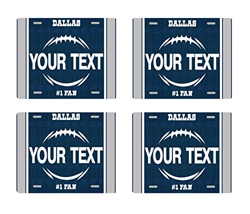 BRGiftShop Customize Your Own Football Team Dallas Set of 4 Square Beverage Coasters