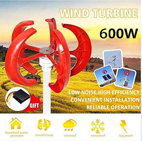 zhangchao 600W Wind-Turbine-Generator, AC 12V 24V5 Blades Motor Laterne Kit Vertikal Axi für Heim Hybrids-Controller,48V