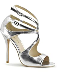 Summitfashions Womens Strappy High Heels Cut Out Sandals Silver Shoe 5 inch Double Ankle Strap