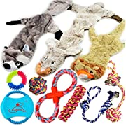 #LightningDeal Lobeve Dog Toys Gift Set,Variety No Stuffing Squeaky Plush Dog Toy and Cotton Rope Puppy Toy Bundle for Medium to Small Doggie