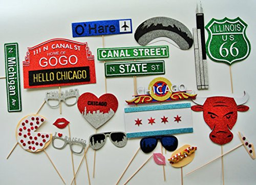 Chicago Photo Booth Props Street Signs Chicagos Bean I Love Chicago Glasses by picwrap