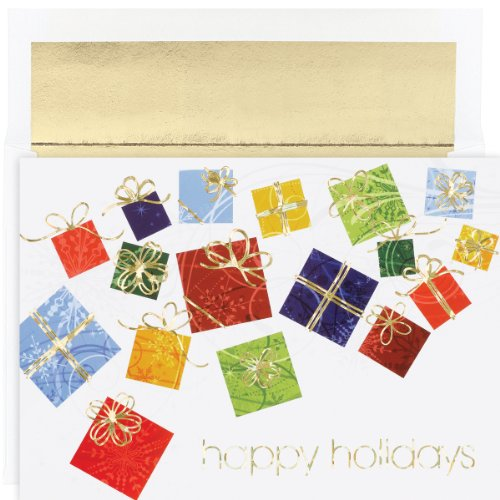 Hortense B. Hewitt Holiday Greetings, Colorful Gifts, Box of 18
