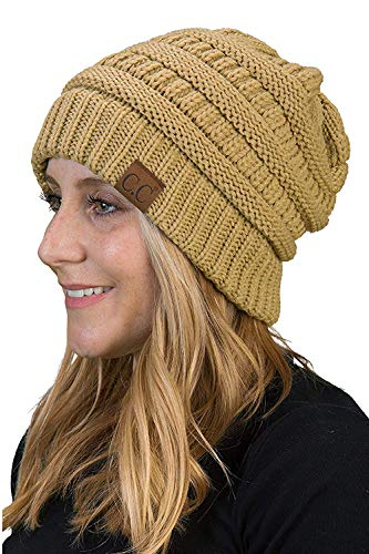 - Funky Junque H-6020a-13 Solid Ribbed Beanie - Camel