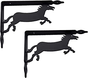 Wrought Iron Triangle Shelf Brackets (2 pcs), Metal Shelf Brackets L-Shaped Right Angle Corner Brace, for Wall Hanging Furniture Connector Decorative - Black/White/Silver Grey