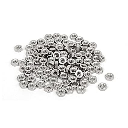 Thread eDealMax M3x5.5mmx2.5mm Mujer 120pcs tono hexagonal tuercas hexagonales sujetadores de plata - - Amazon.com