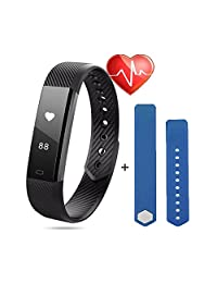Fitness Tracker with Heart Rate Monitor -Mini Kitty Waterproof Smart Fitness Wristband Watch with Extra Pedometer/Sleep Monitor etc. Functions, for Android and iOS Smart Phones (Black+Blue Wristband Replacement)