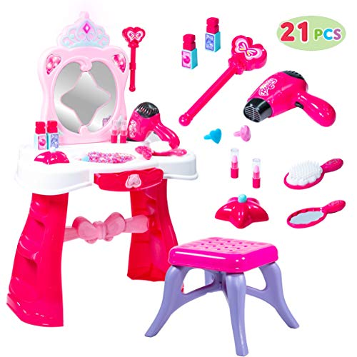 (JOYIN Toddler Fantasy Vanity Beauty Dresser Table Play Set with Lights, Sounds, Chair, Fashion & Makeup Accessories for Kid and Pretend Play, Toy for 2,3,4 yrs)