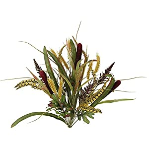 Admired By Nature BURG Faux Cattail Wheat Fall Mix Bush Arrangement 107