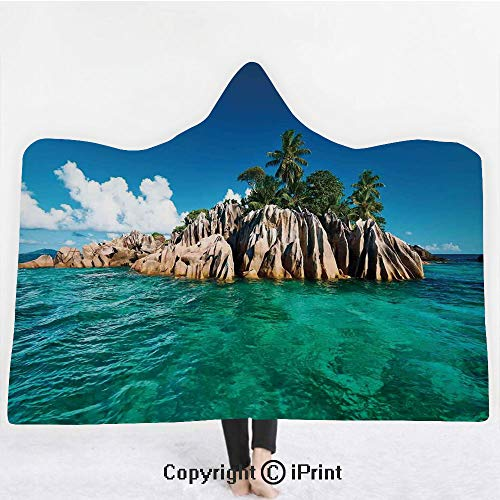 - Island 3D Print Soft Hooded Blanket Boys Girls Premium Throw Blanket,St. Pierre Island at Seychelles Natural Granite Relaxation Mediterranean,Lightweight Microfiber(Kids 50