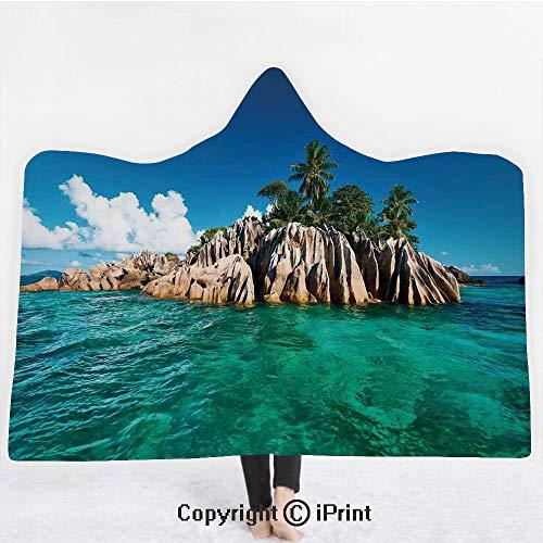 "(Island 3D Print Soft Hooded Blanket Boys Girls Premium Throw Blanket,St. Pierre Island at Seychelles Natural Granite Relaxation Mediterranean,Lightweight Microfiber(Kids 50""x60"") Jade Green Blue Tan)"