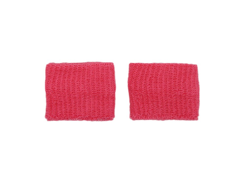 COUVER - Youth - Teenage - Pink Breast Cancer Awareness Sweat Affordable Wirstband - 2.7 inch x 2.3 inch - Bright Pink - 1 pair