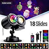 Projector LED Light, BACKTURE 18 Slides Christmas Light LED Projector Lamp Waterproof Double Projection Light Water Wave Light with Remote Control for Outdoor Party, Birthday,Halloween,New Yea