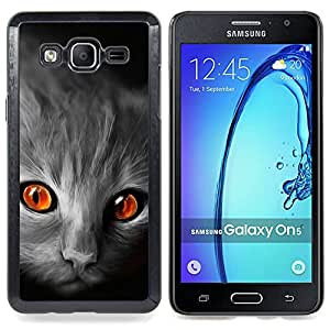 Cat Orange Eyes Grey Face Red Fire Flames Caja protectora de pl??stico duro Dise?¡Àado King Case For Samsung Galaxy On5 SM-G550FY G550